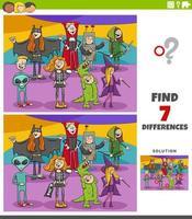 Unterschiede pädagogische Aufgabe für Kinder mit Halloween-Charakteren
