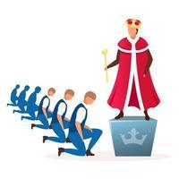 monarki politiskt system metafor platt vektorillustration.