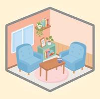 gemütliches Zuhause mit Möbeln und Pflanzen