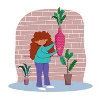 ung kvinna med växter inomhus vektor