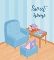 mysig heminredning med möbler och böcker vektor