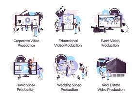 flache Konzeptikonen der Videoproduktion eingestellt