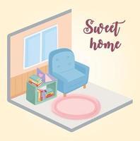mysig heminredning med möbler och böcker