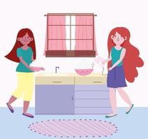 junge Frauen backen in der Küche