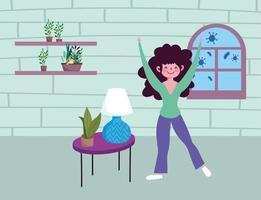 glückliches Mädchen mit Pflanzen drinnen