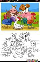 Malbuchseite der Nutztiergruppen-Karikaturillustration