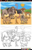 tecknade roliga djur grupp målarbok sida