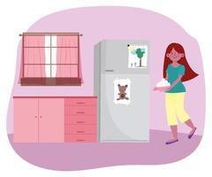 junge Frau, die eine Schüssel in der Küche hält
