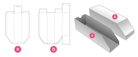 avfasad förpackningslåda med skärmall