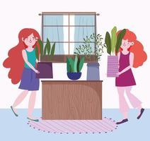 junge Frauen mit Topfpflanzen