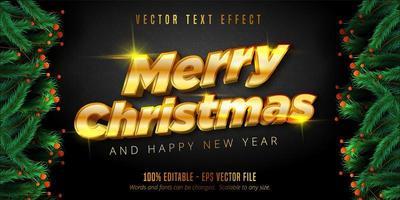 bearbeitbarer Texteffekt des glänzenden goldenen Weihnachtsstils vektor