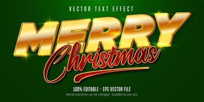 bearbeitbare Texteffekte im goldenen und roten Weihnachtsstil vektor