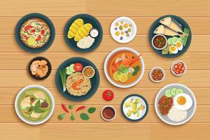 thailändsk mat och ingrediens på träbakgrund vektor