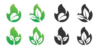 Feuer und Blatt negativer Raum Logo Design Set