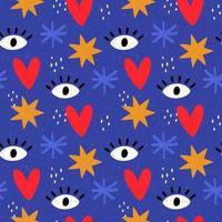 blaues Muster mit handgezeichneten Formen vektor