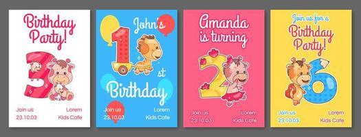 barn födelsedagsfest inbjudningskort vektor mallar set.