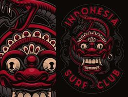 rote und schwarze Bali-Maske mit Schlangenhemd-Design vektor