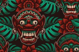 traditionelle indonesische Masken, tropische Pflanzen und Blumenmuster vektor