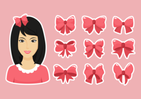 Hair Ribbon Icons Vector