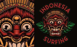 buntes traditionelles Bali-Maskenhemddesign vektor