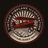 färgrikt runt emblem med ett retroflygplan vektor