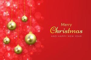 jul bakgrund i gnistrande rött med gyllene hängande ornament vektor