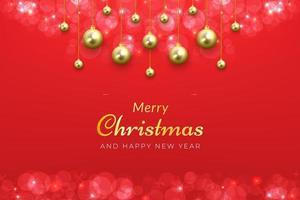 jul bakgrund i rött med gyllene hängande ornament vektor