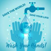 Waschen Sie Ihre Hände, retten Sie das Weltzeichenkonzept