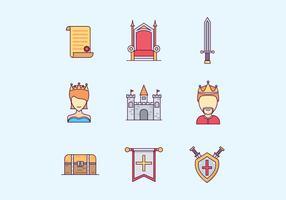 Medeltida Kingdom ikoner Set vektor
