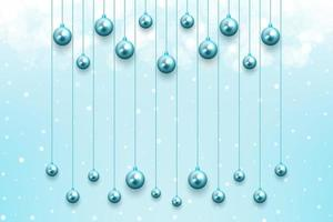 Weihnachtsfeier Hintergrund mit hängenden leuchtend blauen Ornamenten
