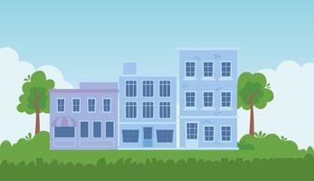 Stadtbild mit Gebäuden und Bäumen