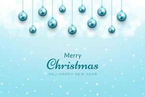 jul firande bakgrund med snö och blå ornament vektor
