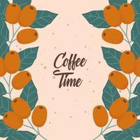 kaffetidskomposition med naturliga kaffebönor vektor