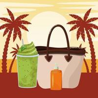 Sommerstrand und Urlaub Cartoon