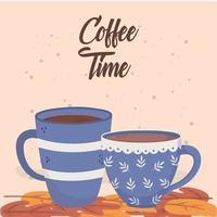 Kaffeezeit Zusammensetzung mit Bechern vektor