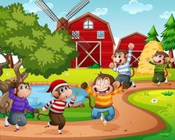 fem liten apa som hoppar på gårdsplatsen
