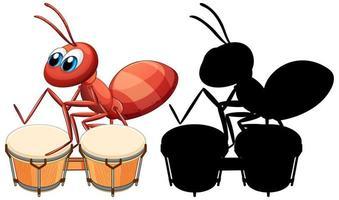 Ameise spielt Trommel und ihre Silhouette vektor