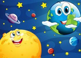 Mond und Erde mit glücklichen Gesichtern im Weltraum