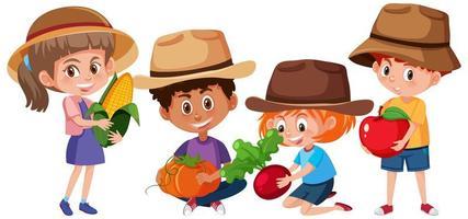 Satz verschiedene Kinder, die Früchte halten vektor