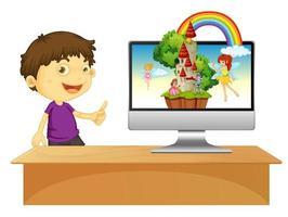 pojke bredvid bärbar dator på skrivbordet