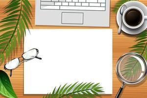 Draufsicht Büroarbeitsplatz mit Büroelementen vektor