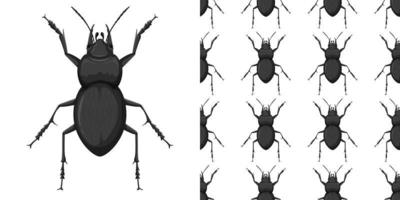 Carabidae und Muster isoliert auf Weiß vektor