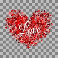 rött hjärta gjord av små hjärtans valentins design