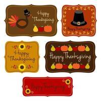 Thanksgiving-Etiketten gesetzt
