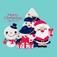 god jul och gott nytt årskort vektor