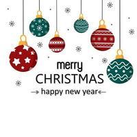 god julkort med julgranskulor vektor
