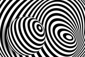 Schwarz-Weiß-3D-Linienverzerrung, Ballillusion