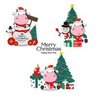 Frohe Weihnachtskarte mit niedlichen Kühen