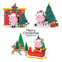Frohe Weihnachtskarte mit niedlicher Kuh