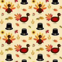 tacksägelsekalkon, löv och pilgrimhattmönster